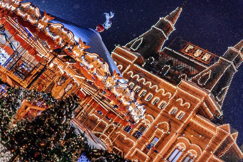 MOSCA, RUSSIA - dicembre, 19 del 2018: Quadrato famoso di Mosca Manezh Paesaggio urbano del quadrato di Manezhnaya nel centro urb fotografia stock