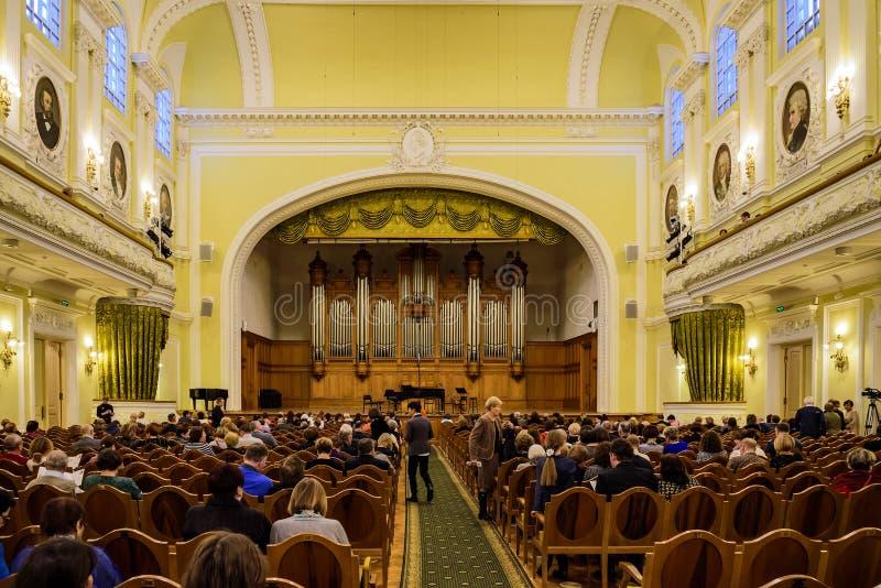 Mosca, 30 Russia-dicembre, 2017: Grande corridoio del conservatorio di Mosca Tchaikovsky Una vista della fase fotografia stock libera da diritti
