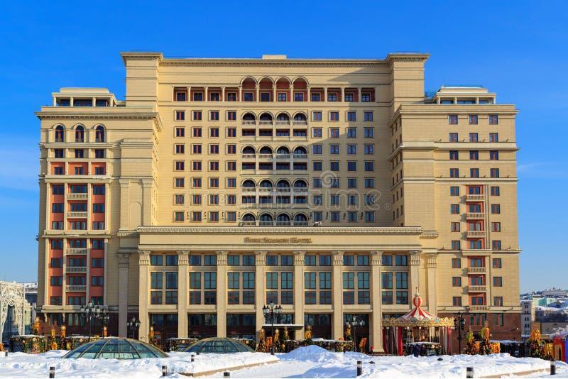 Mosca, Russia - 14 febbraio 2018: Un hotel di quattro stagioni sul quadrato di Manege Mosca in inverno immagine stock libera da diritti