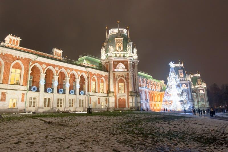 Mosca, Russia 6 gennaio: Il grande palazzo nel museo e nel parco di Tsaritsyno con l'albero di Natale, turisti va fare un giro tu immagine stock