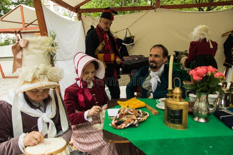 Mosca, Russia - giugno 2019: Tempi ed epoche storici di festival Ricostruzione di vita e delle guerre immagini stock