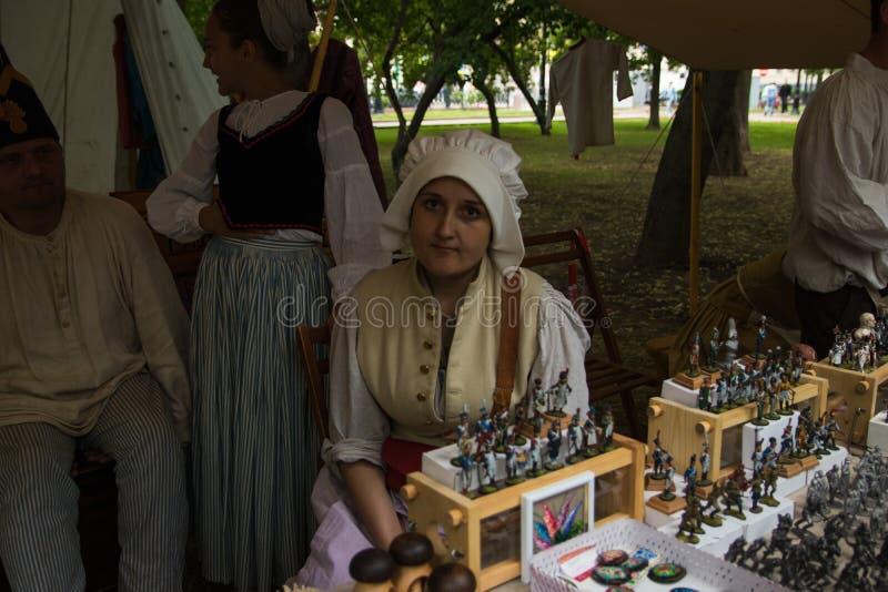 Mosca, Russia - giugno 2019: Tempi ed epoche storici di festival Ricostruzione di vita e delle guerre fotografia stock libera da diritti