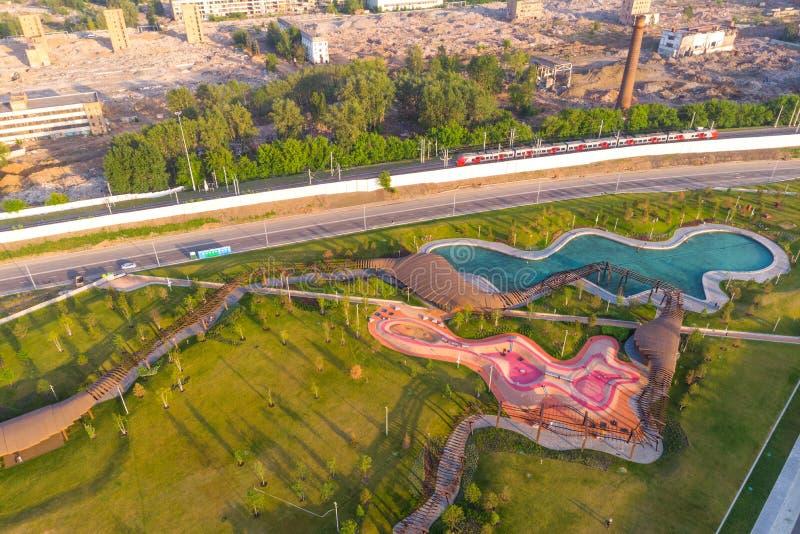 Mosca, Russia - 31 maggio 2019: Vista aerea pittoresca del parco Tiufielieva Roshcha a Mosca, Russia immagine stock
