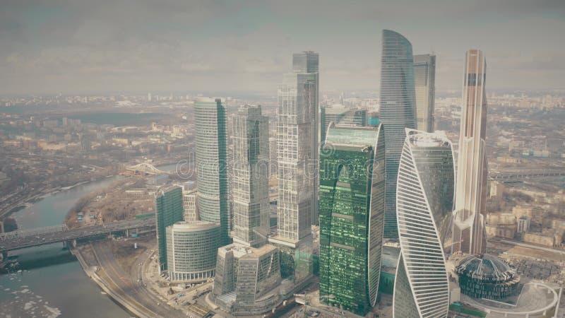 MOSCA, RUSSIA - 23 MARZO 2019 Grattacieli del centro di affari internazionale MIBC, vista aerea di Mosca fotografia stock
