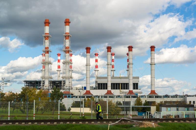 Mosca, Russia 1° ottobre 2016 L'internazionale di potere termico ed il riscaldamento centrale di un quartiere dispongono Krasnaya fotografia stock libera da diritti
