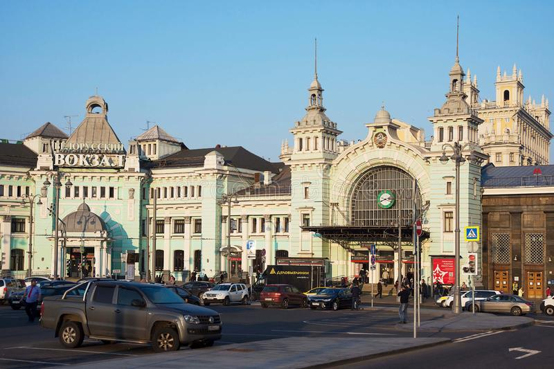 Mosca, Russia - ottobre 19, 2018: Stazione ferroviaria di Belorussky del monumento storico a Mosca fotografie stock