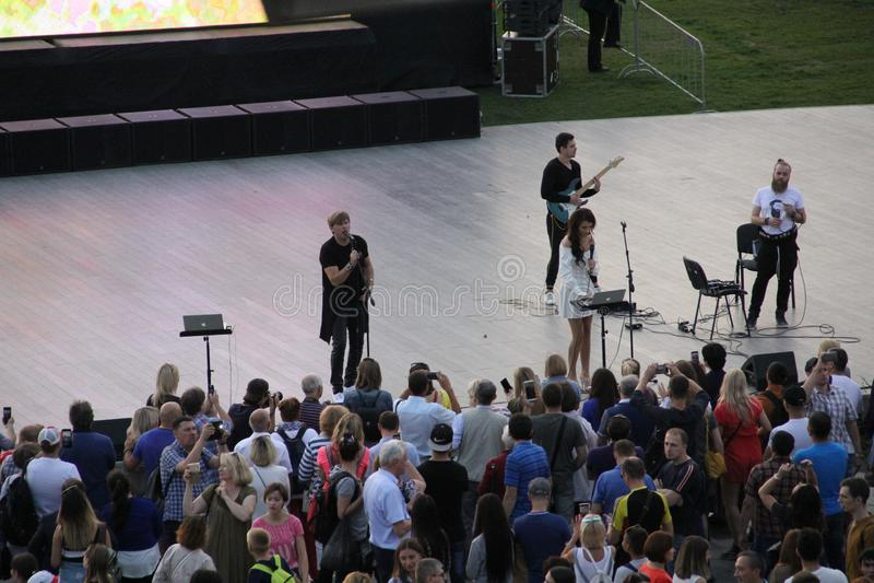 Mosca, Russia 9 settembre 2018: il concerto in carica Esegue un gruppo poco noto fotografia stock