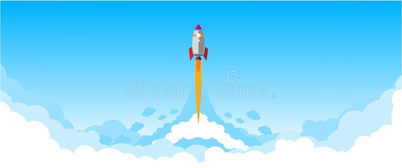 Mosca a través del cielo azul - cohete ilustración del vector