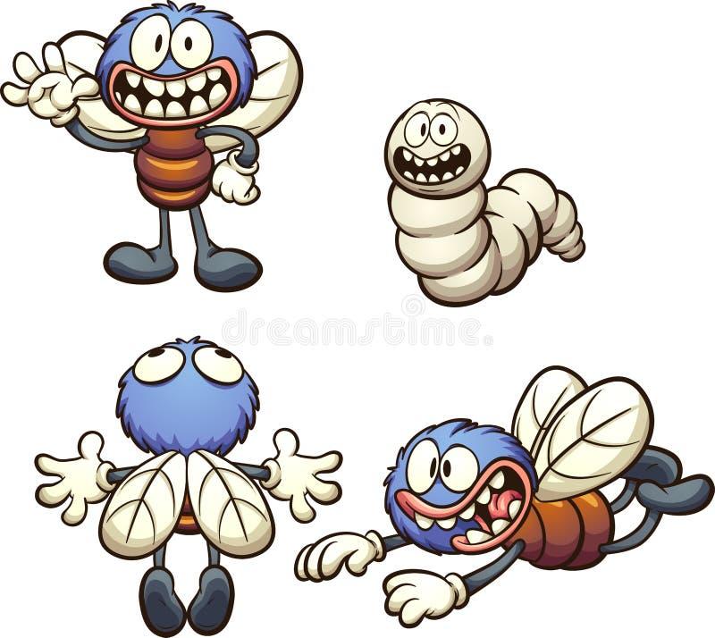 Mosca y gusano de la historieta con diversas actitudes stock de ilustración