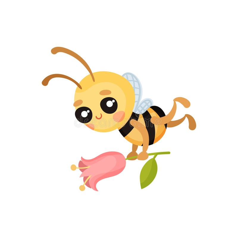 Moscas de abelha dos desenhos animados com uma flor em suas mãos Ilustra??o do vetor ilustração royalty free