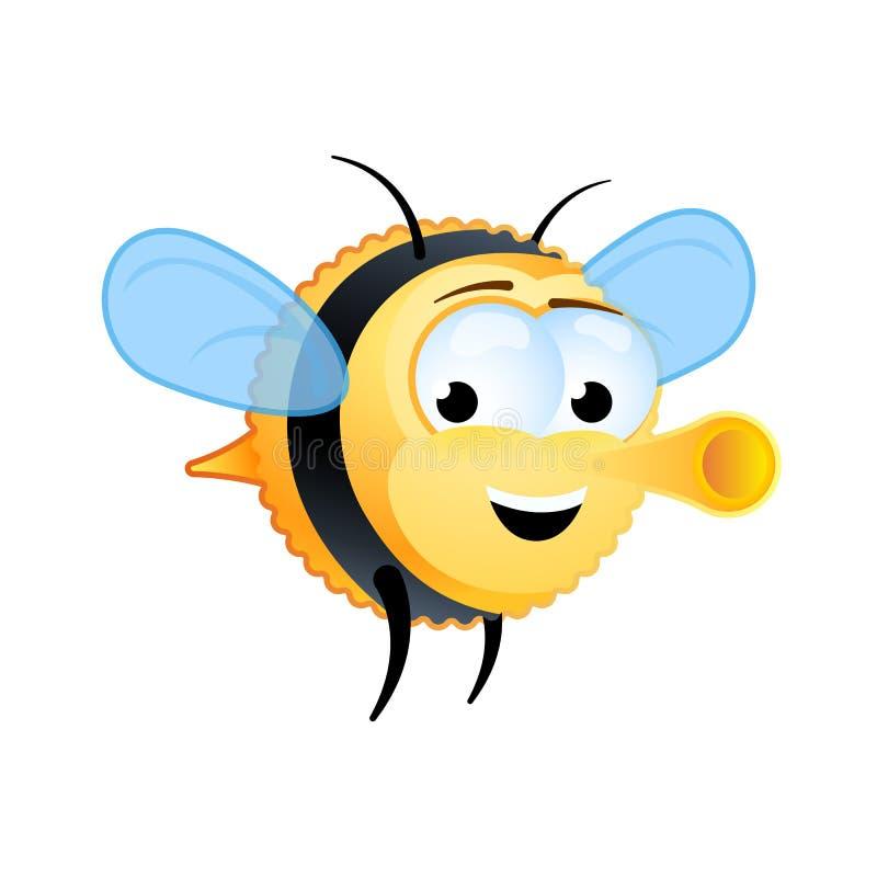 Mosche di ape grasse sveglie con un sorriso sul suo fronte Personaggio dei cartoni animati Illustrazione di vettore Clipart illustrazione vettoriale