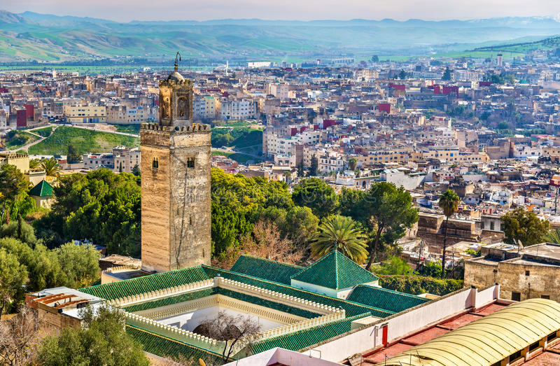 Moschea a Bab Guissa Gate a Fes, Marocco fotografie stock libere da diritti
