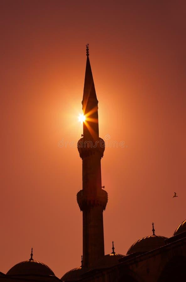Moschea blu a Costantinopoli Turchia al tramonto fotografie stock libere da diritti
