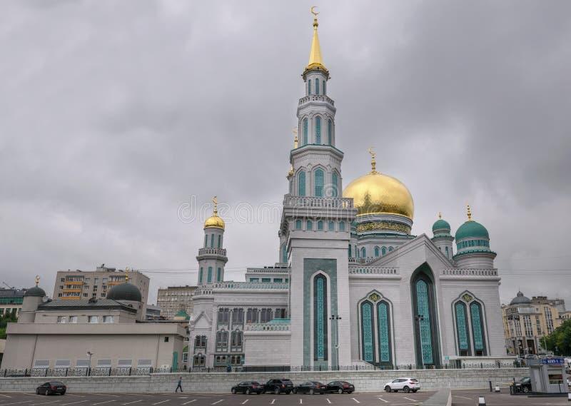 Moschea della cattedrale di Mosca Uno di più grande e più alta moschea in Russia ed Europa Vista del primo piano fotografia stock