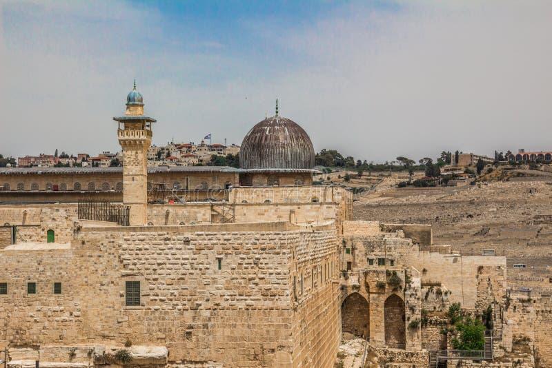 Moschea di Al-Aqsa nella vecchia città di Gerusalemme Israele osservata da immagine stock