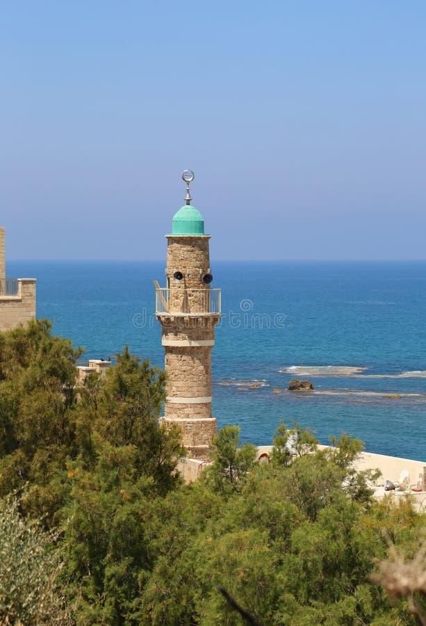 Moschea di Al-Bahr o moschea del mare in vecchia città di Giaffa, Israele fotografia stock libera da diritti