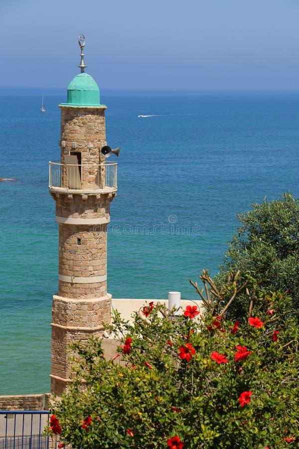 Moschea di Al-Bahr o moschea del mare in vecchia città di Giaffa, Israele fotografie stock libere da diritti