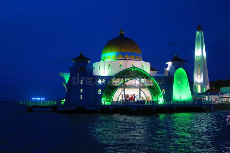 Moschea di galleggiamento Malacca del selat del masjid degli stretti di Melaka fotografia stock libera da diritti