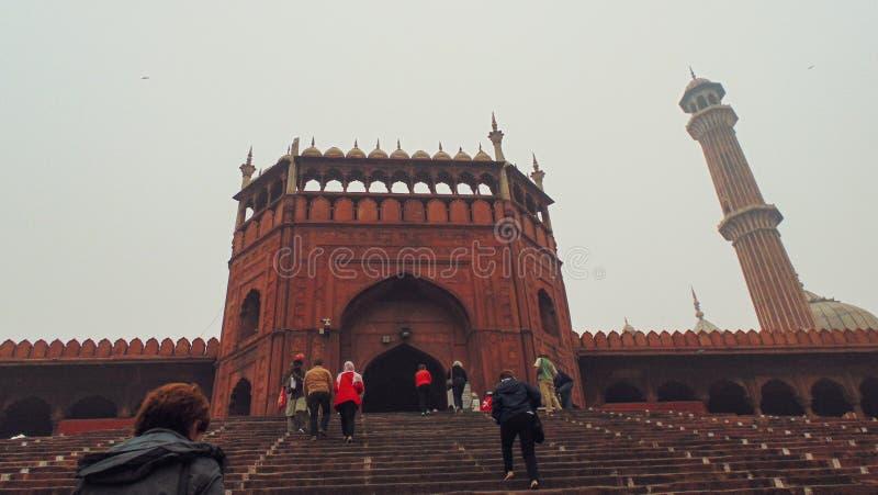 Moschea di Jama a Delhi, India fotografie stock libere da diritti