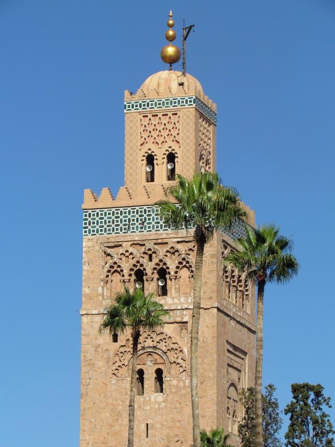 Moschea di Koutoubia ed il suo bello minareto a Marrakesh Marocco fotografie stock