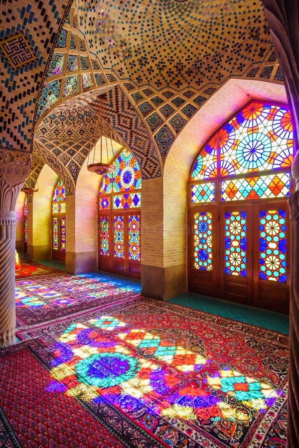 Moschea di Molk del ol di Nasir - moschea rosa a Shiraz fotografie stock