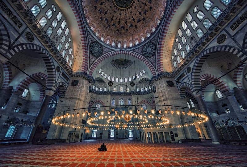Moschea di Suleymaniye Camii a Costantinopoli fotografie stock libere da diritti