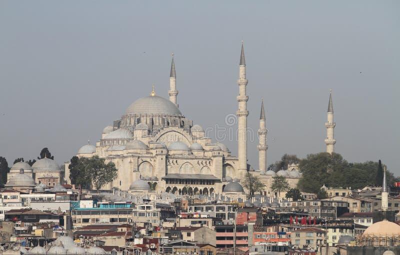 Moschea di Suleymaniye nella città di Costantinopoli fotografia stock libera da diritti