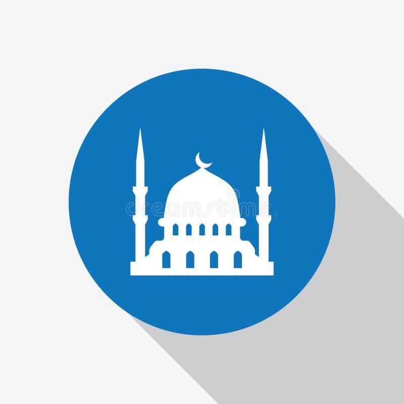 Moschea islamica bianca, icona del posto di culto illustrazione di stock