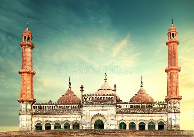 Moschea lucknow Bara Imambara di Asfi fotografia stock