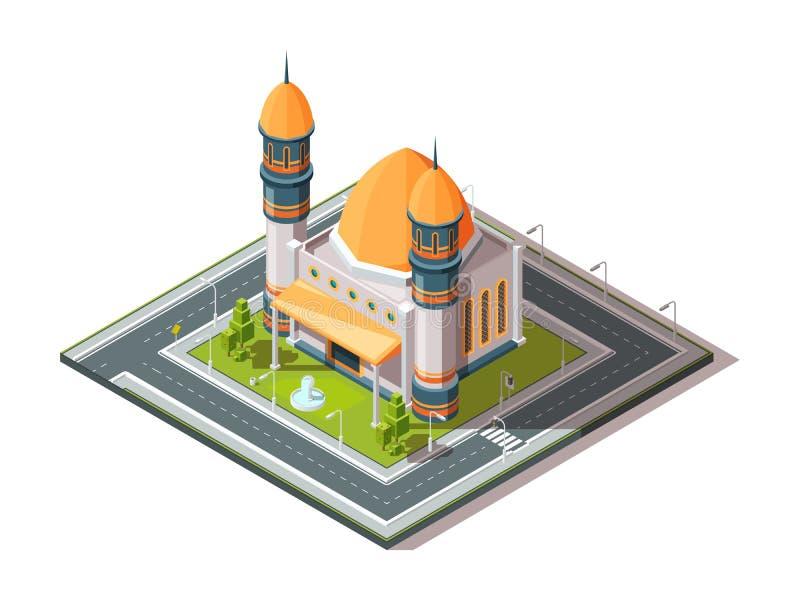 Moschee in der Stadt Architekturgegenstand der islamischen moslemischen Religion im Stadtlandschaftsvektor isometrisch vektor abbildung