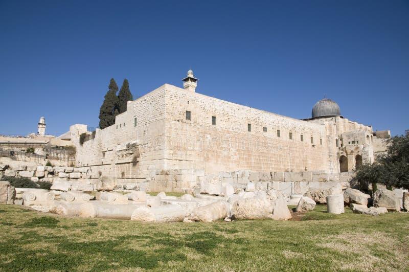 Moschee EL-Aksah und westliche Wand lizenzfreie stockfotografie