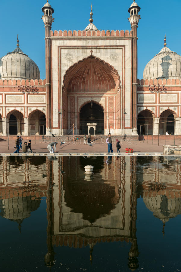 Moschee Jama Masjid, altes Dehli, Indien stockbild