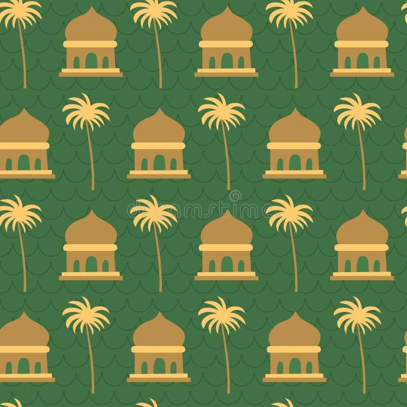 Moschee, Kokosnussbaum, grünes islamisches ramadhan Muster vektor abbildung