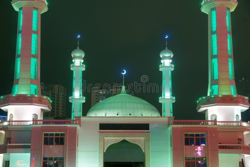 Moschee nightscape stockbilder
