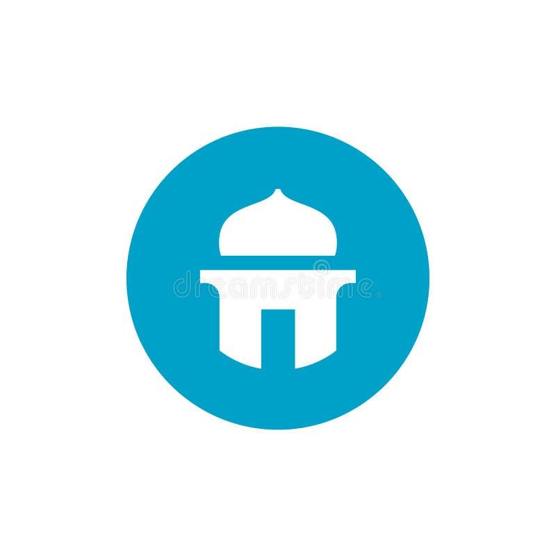 Moschee oder Mushola-Symbol, Masjid und Blue Circle formen Ikone, einfaches Vektor Illus-tration stock abbildung
