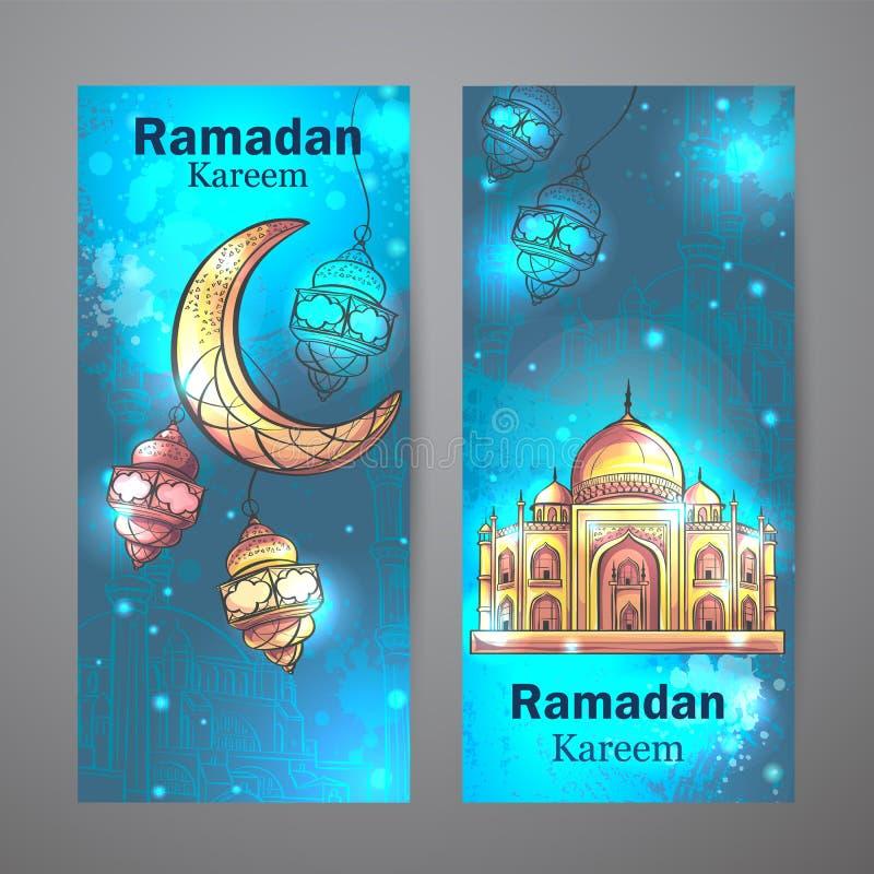Moschee Ramadan Kareem und sichelförmige Mondvertikalenfahnen lizenzfreie abbildung
