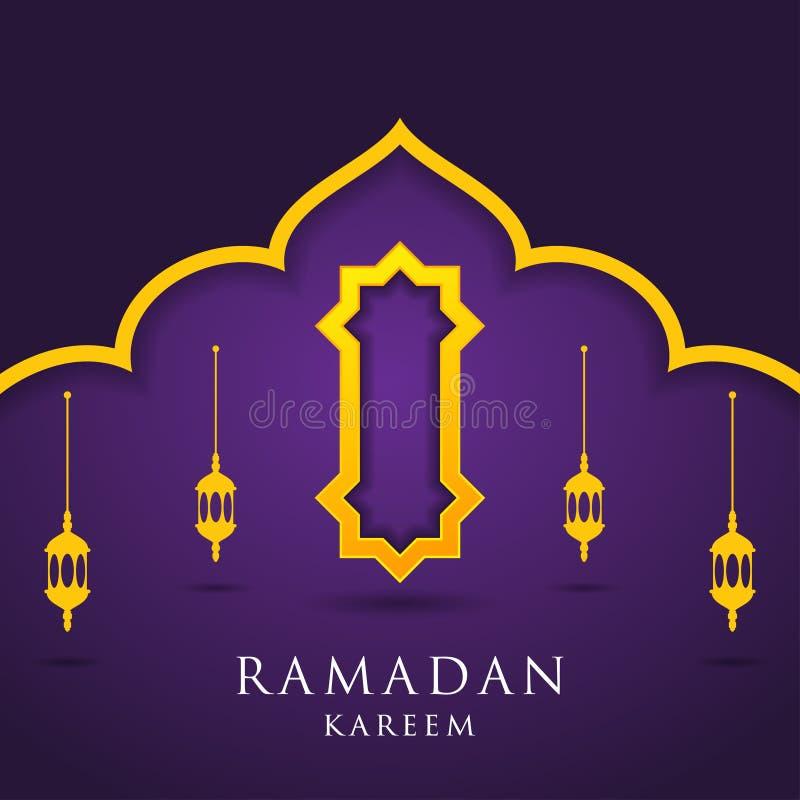 Moschee und Laternen auf purpurrotem Hintergrund Moslemische Grußkarte Ramadan Kareem, freie Visitenkarte-Schablone - Illustratio stock abbildung