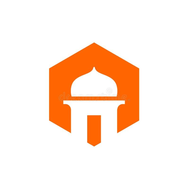 Moschee und orange Farbhexagon-Ikone, Musholla Logo Design, islamisches Vektor-Illustrations-Design vektor abbildung