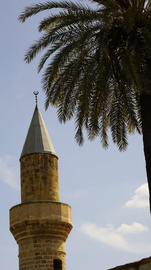 Moschee und Palme in Zypern gegen den blauen Himmel stockbilder