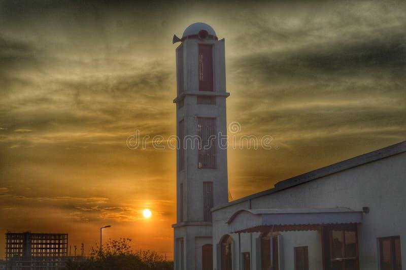 Moschee und Sonnenuntergang stockfoto