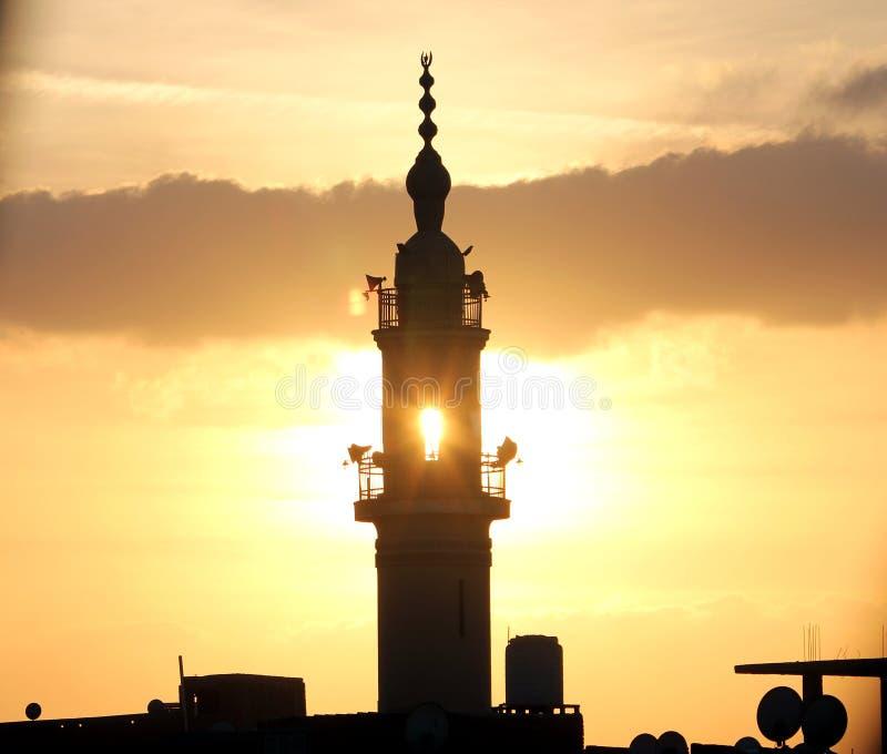 Moschee während des Sonnenuntergangs stockbilder