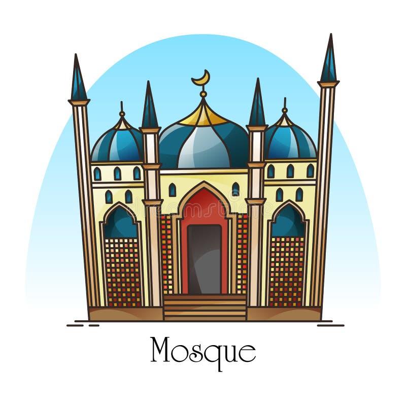 Moscheenfassade oder islamisches Gebäude für Moslems stock abbildung