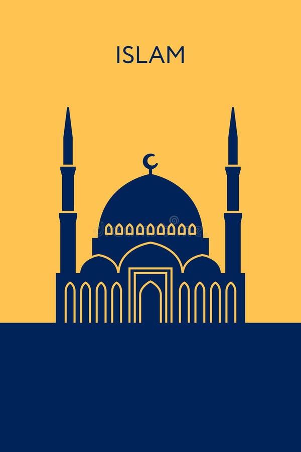 Moscheenikone Islamgebäude stock abbildung