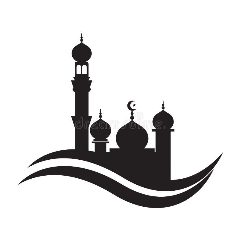 Moscheenikonenvektor Illustrations-Designschablone Moschee Ikonen-Symbol-Logo vektor abbildung