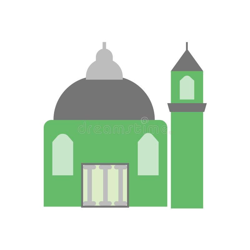 Moscheenikonenvektorzeichen und -symbol lokalisiert auf weißem Hintergrund, Moscheenlogokonzept stock abbildung