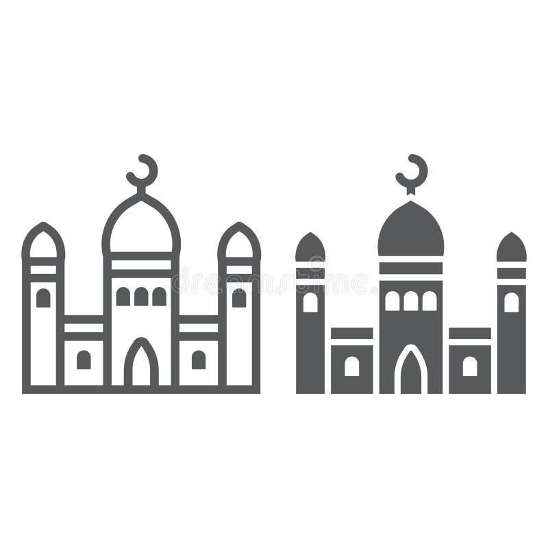 Moscheenlinie und Glyphikone, islamisch und Religion, errichtendes Zeichen, Vektorgrafik, ein lineares Muster auf einem weißen Hi stock abbildung