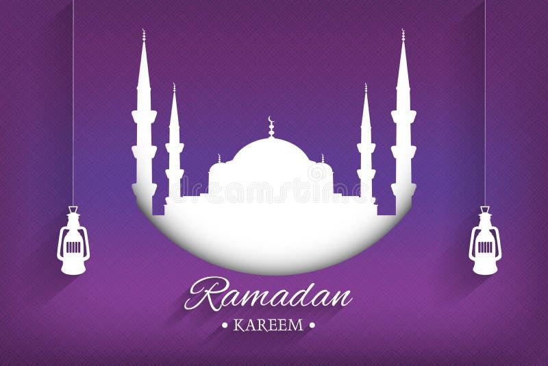 Moscheenschattenbild und handgeschriebenes Ramadan-kareem und -Hängeleuchten mit purpurrotem Hintergrund, Vektor vektor abbildung
