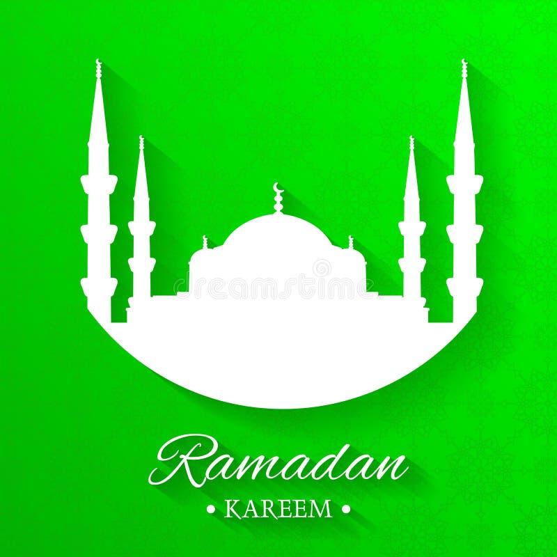 Moscheenschattenbild und schriftliches Ramadan-kareem mit gr?nem Hintergrund, islamisches Muster, Vektor lizenzfreie abbildung