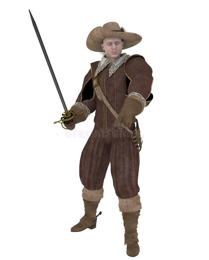 Moschettiere con la spada illustrazione di stock
