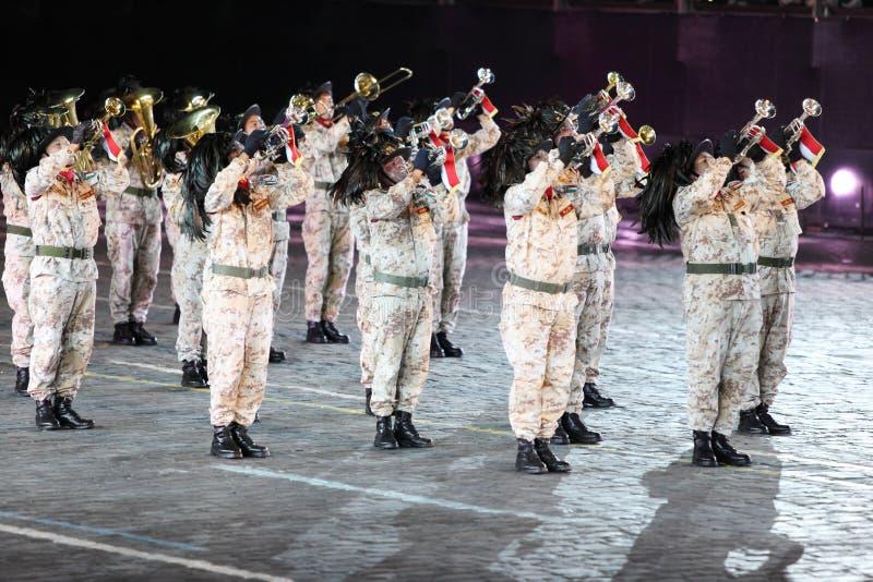 Bersaleri d'orchestre de vent Guglielmo Colombo au festival de musique militaire image stock